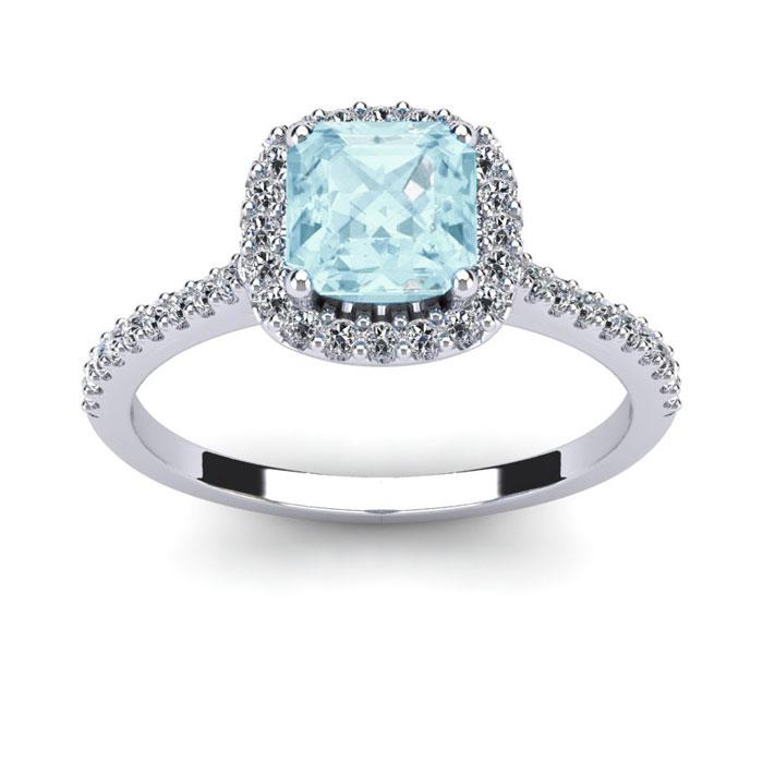1 Carat Cushion Cut Aquamarine and Halo Diamond Ring In 14K White Gold