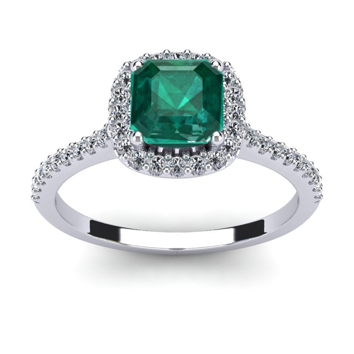 1 1/2 Carat Cushion Cut Emerald and Halo Diamond Ring In 14K White Gold