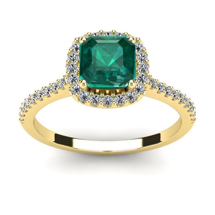 1 1/2 Carat Cushion Cut Emerald and Halo Diamond Ring In 14K Yellow Gold