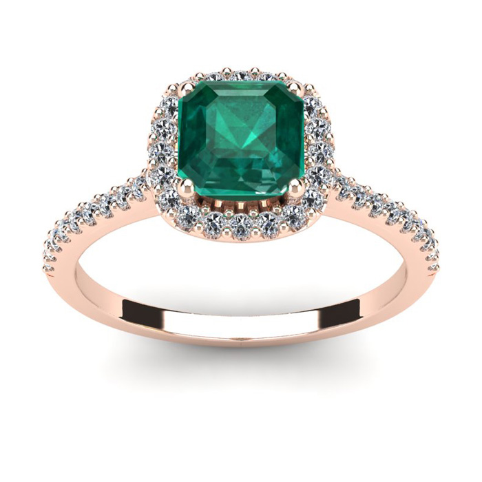 1 1/2 Carat Cushion Cut Emerald and Halo Diamond Ring In 14K Rose Gold