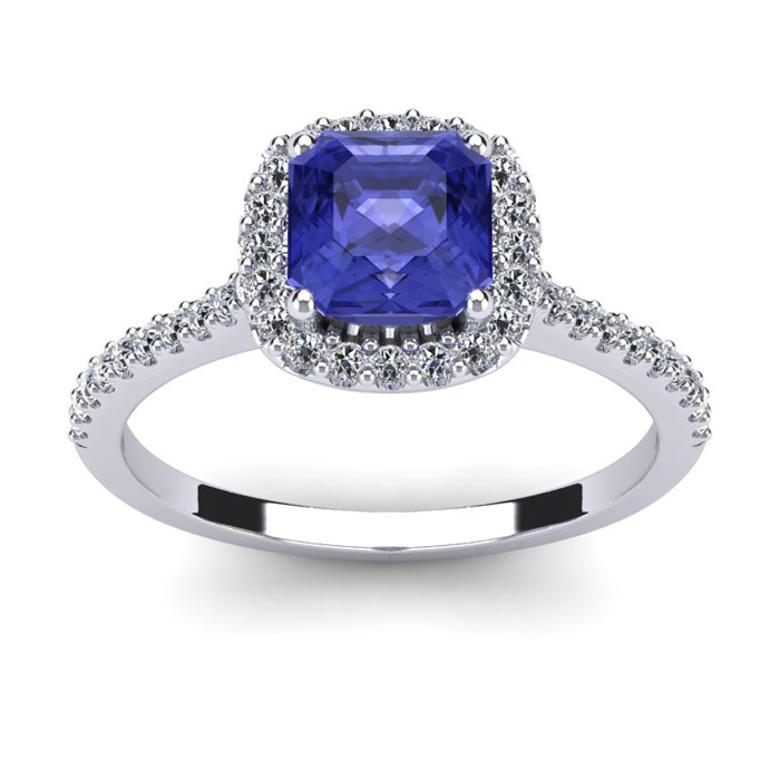 1 1/3 Carat Cushion Cut Tanzanite and Halo Diamond Ring In 14K White Gold