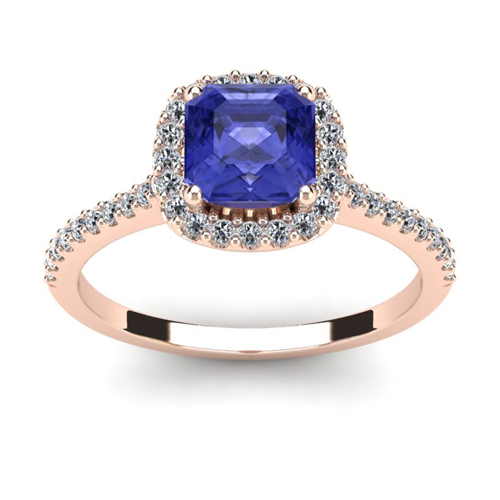 1 1/3 Carat Cushion Cut Tanzanite and Halo Diamond Ring In 14K Rose Gold