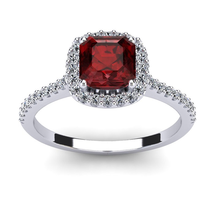 1 1/2 Carat Cushion Cut Garnet and Halo Diamond Ring In 14K White Gold