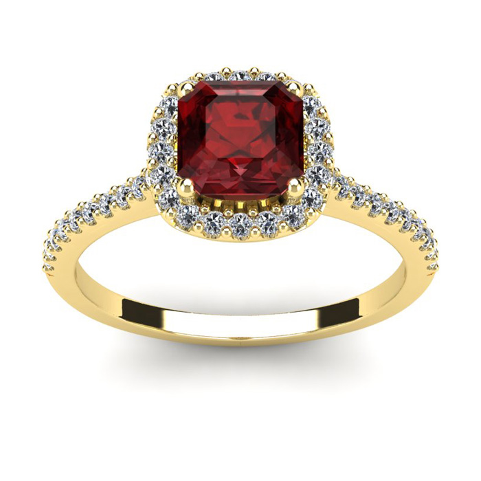 1 1/2 Carat Cushion Cut Garnet and Halo Diamond Ring In 14K Yellow Gold