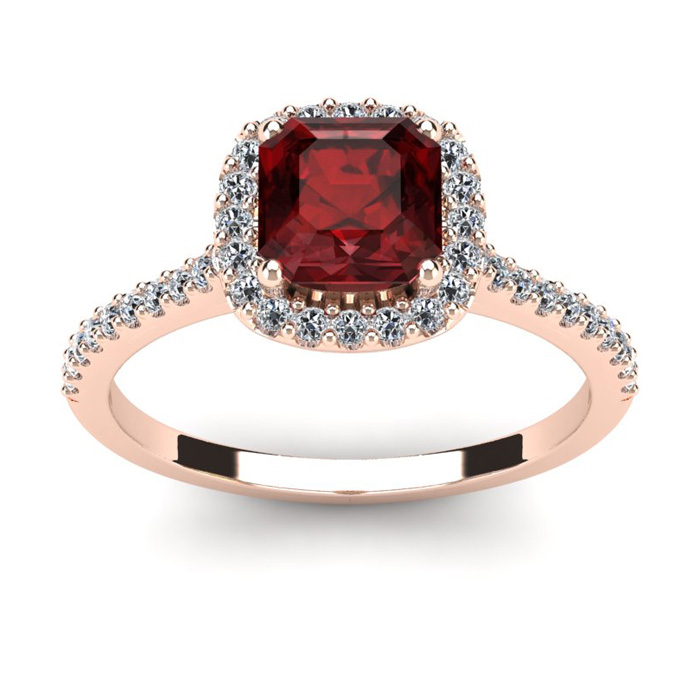 1 1/2 Carat Cushion Cut Garnet and Halo Diamond Ring In 14K Rose Gold