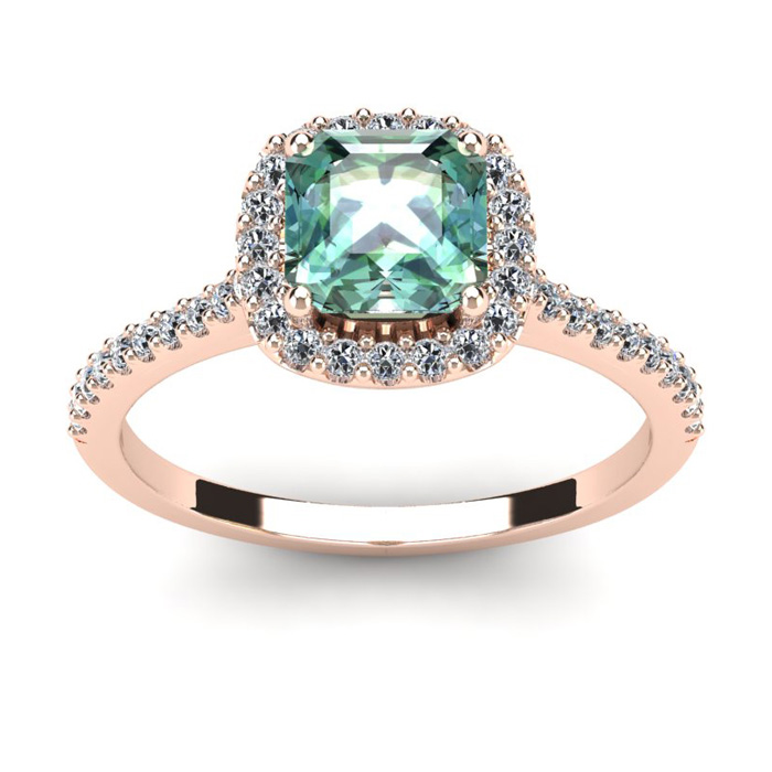 1 Carat Cushion Cut Green Amethyst and Halo Diamond Ring In 14K Rose Gold