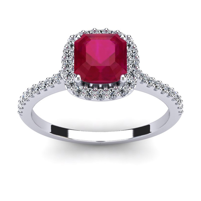 1 3/4 Carat Cushion Cut Ruby and Halo Diamond Ring In 14K White Gold