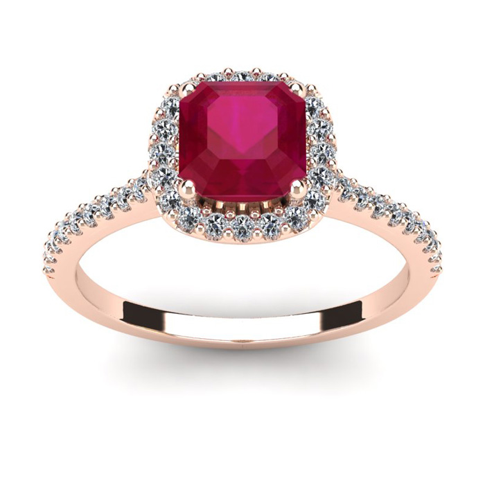 1 3/4 Carat Cushion Cut Ruby and Halo Diamond Ring In 14K Rose Gold