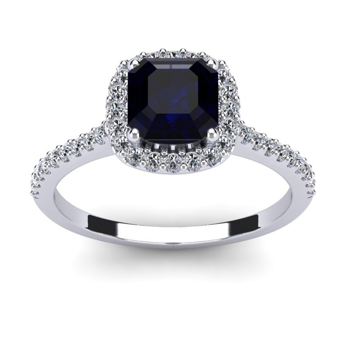 1 1/2 Carat Cushion Cut Sapphire and Halo Diamond Ring In 14K White Gold