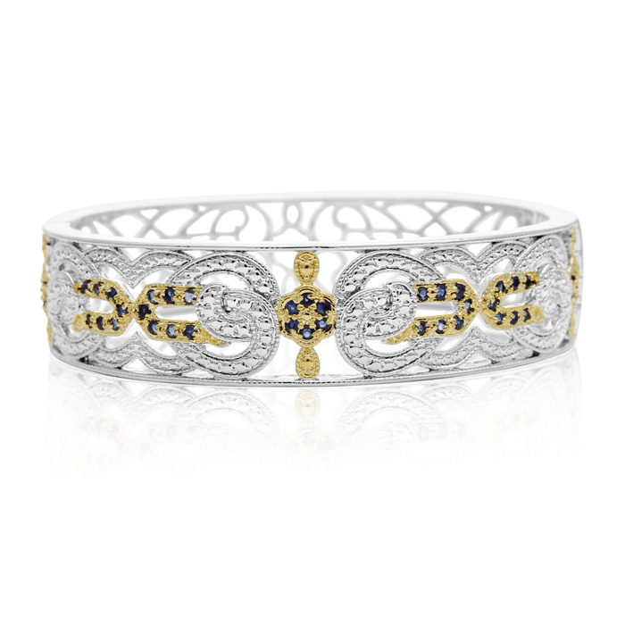 Two-Tone Cathedral 1 Carat Sapphire Bangle Bracelet