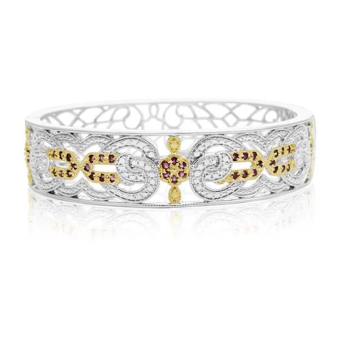 Two-Tone Cathedral 1 Carat Ruby Bangle Bracelet