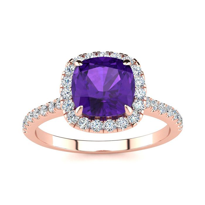 2 Carat Cushion Cut Amethyst and Halo Diamond Ring In 14K Rose Gold