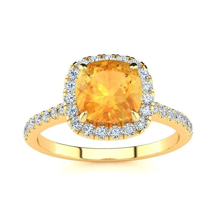 2 Carat Cushion Cut Citrine and Halo Diamond Ring In 14K Yellow Gold