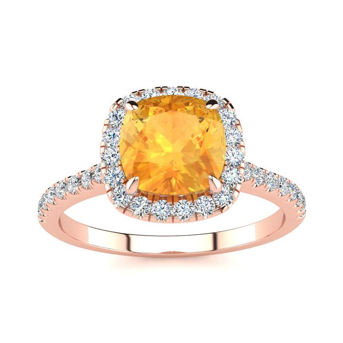 2 Carat Cushion Cut Citrine and Halo Diamond Ring In 14K Rose Gold