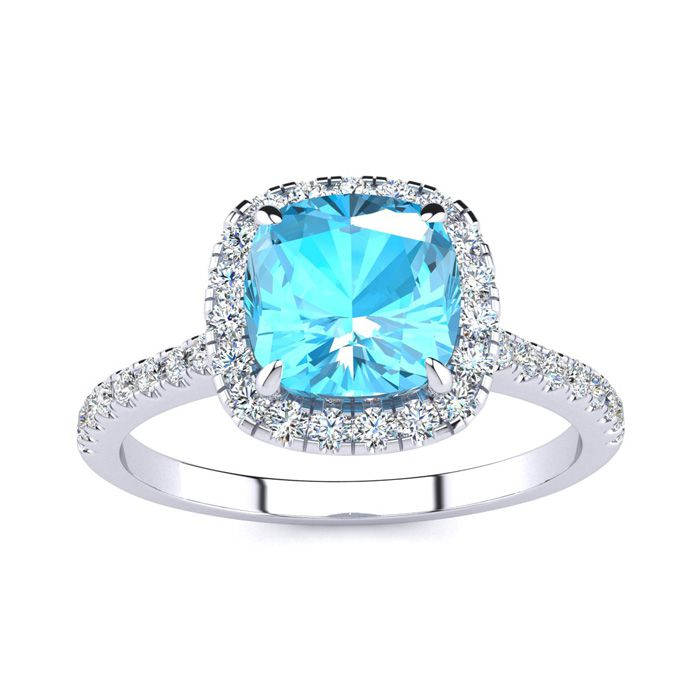 2 Carat Cushion Cut Blue Topaz and Halo Diamond Ring In 14K White Gold