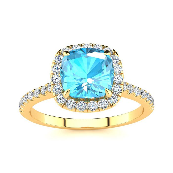 2 Carat Cushion Cut Blue Topaz and Halo Diamond Ring In 14K Yellow Gold