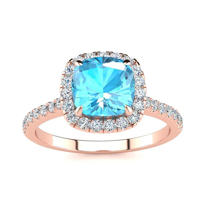 2 Carat Cushion Cut Blue Topaz and Halo Diamond Ring In 14K Rose Gold