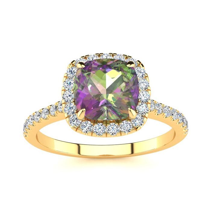 2 Carat Cushion Cut Mystic Topaz and Halo Diamond Ring In 14K Yellow Gold