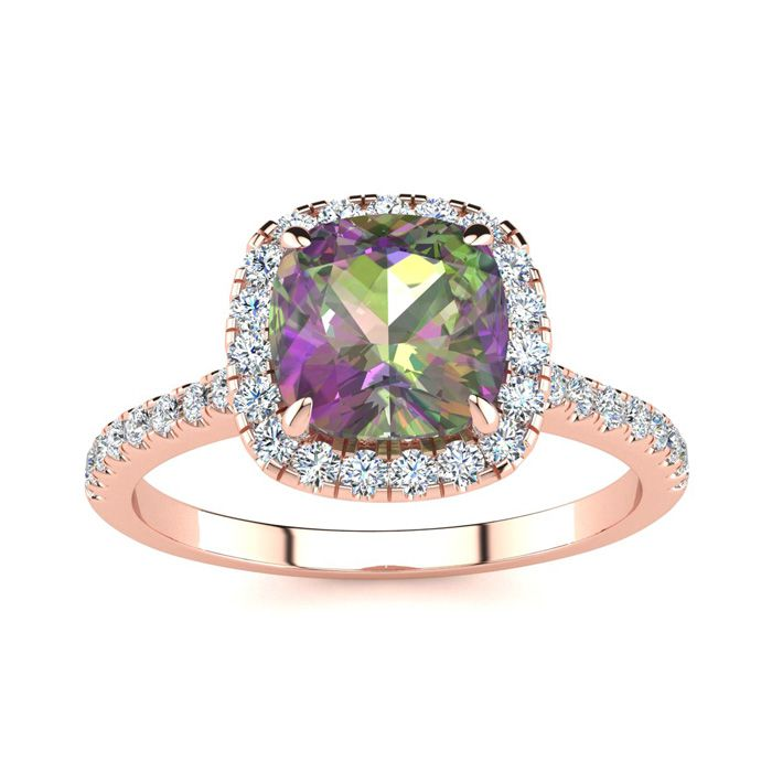 2 Carat Cushion Cut Mystic Topaz and Halo Diamond Ring In 14K Rose Gold