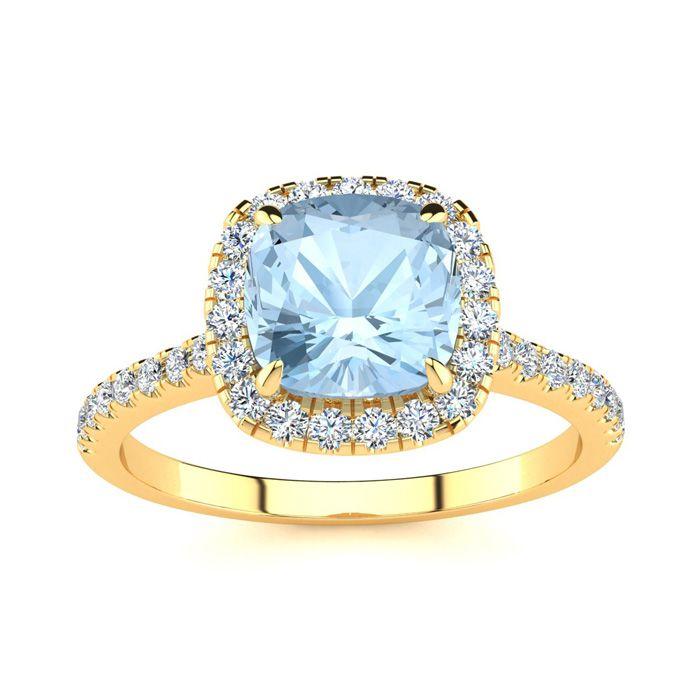 2 Carat Cushion Cut Aquamarine and Halo Diamond Ring In 14K Yellow Gold