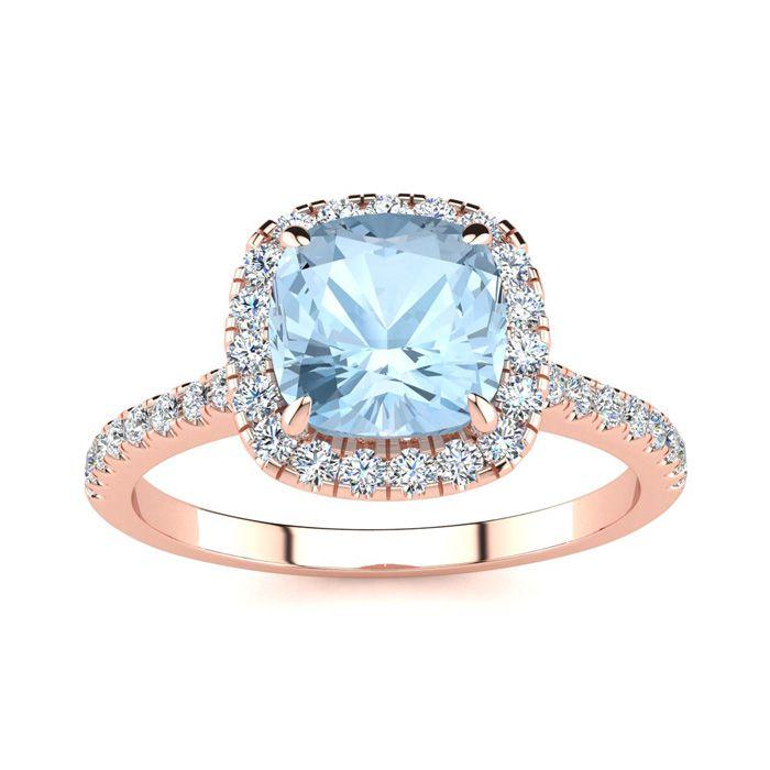 2 Carat Cushion Cut Aquamarine and Halo Diamond Ring In 14K Rose Gold