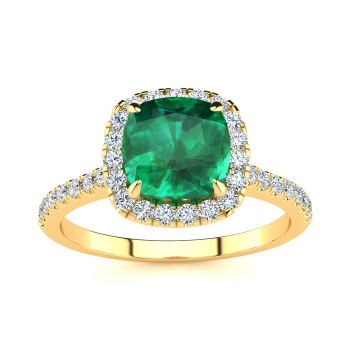 2 Carat Cushion Cut Emerald and Halo Diamond Ring In 14K Yellow Gold