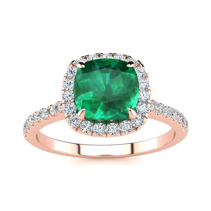 2 Carat Cushion Cut Emerald and Halo Diamond Ring In 14K Rose Gold