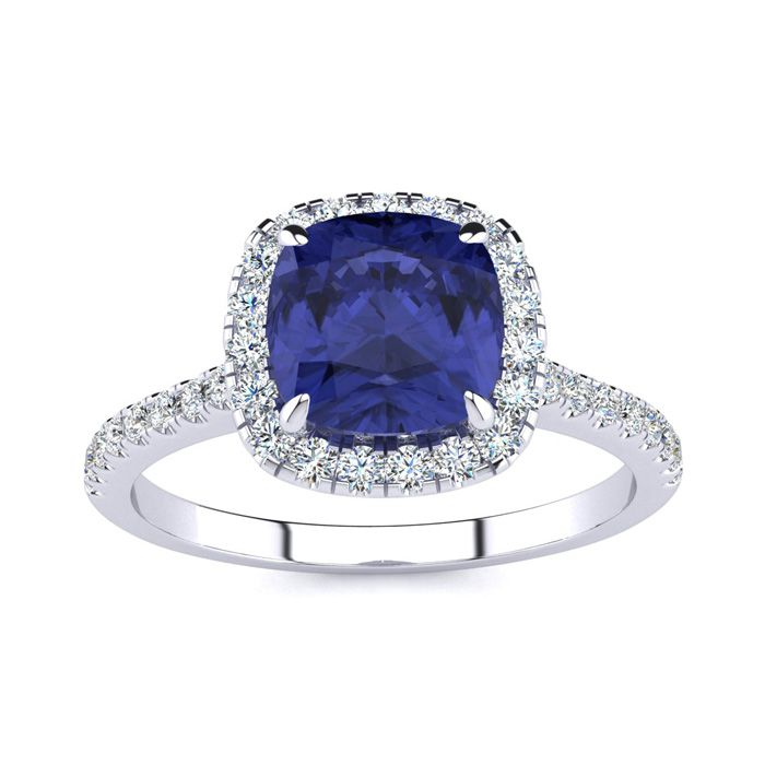 2 Carat Cushion Cut Tanzanite and Halo Diamond Ring In 14K White Gold