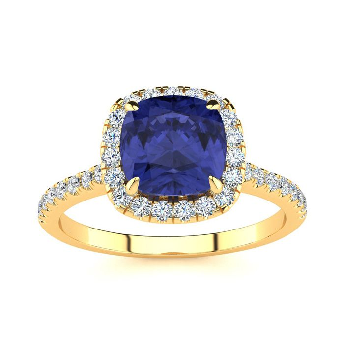 2 Carat Cushion Cut Tanzanite and Halo Diamond Ring In 14K Yellow Gold