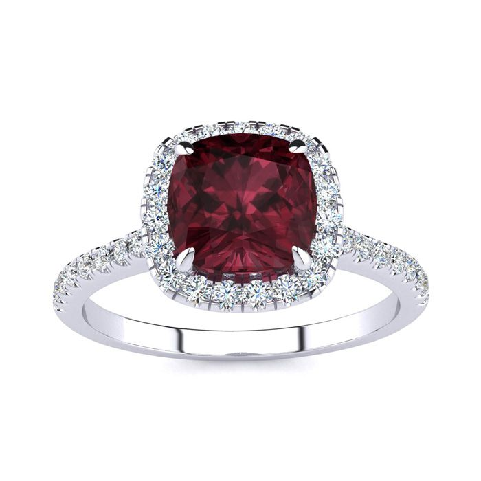 2 Carat Cushion Cut Garnet and Halo Diamond Ring In 14K White Gold