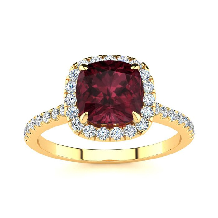 2 Carat Cushion Cut Garnet and Halo Diamond Ring In 14K Yellow Gold