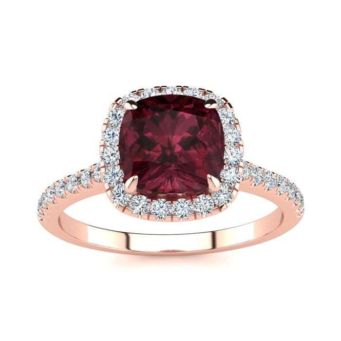 2 Carat Cushion Cut Garnet and Halo Diamond Ring In 14K Rose Gold