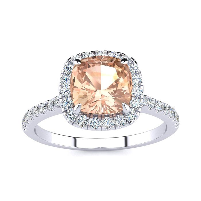 2 Carat Cushion Cut Morganite and Halo Diamond Ring In 14K White Gold