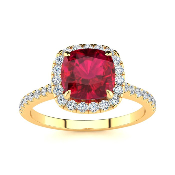 2 Carat Cushion Cut Ruby and Halo Diamond Ring In 14K Yellow Gold