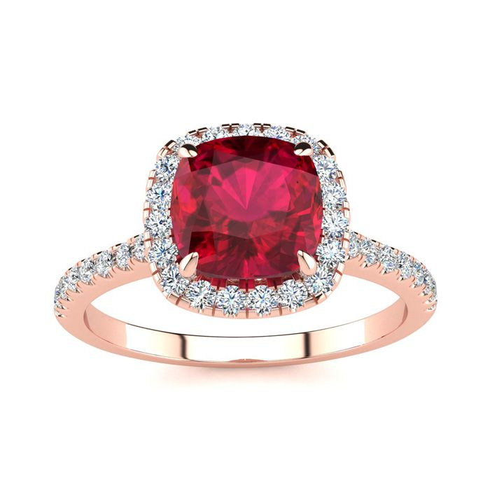2 Carat Cushion Cut Ruby and Halo Diamond Ring In 14K Rose Gold