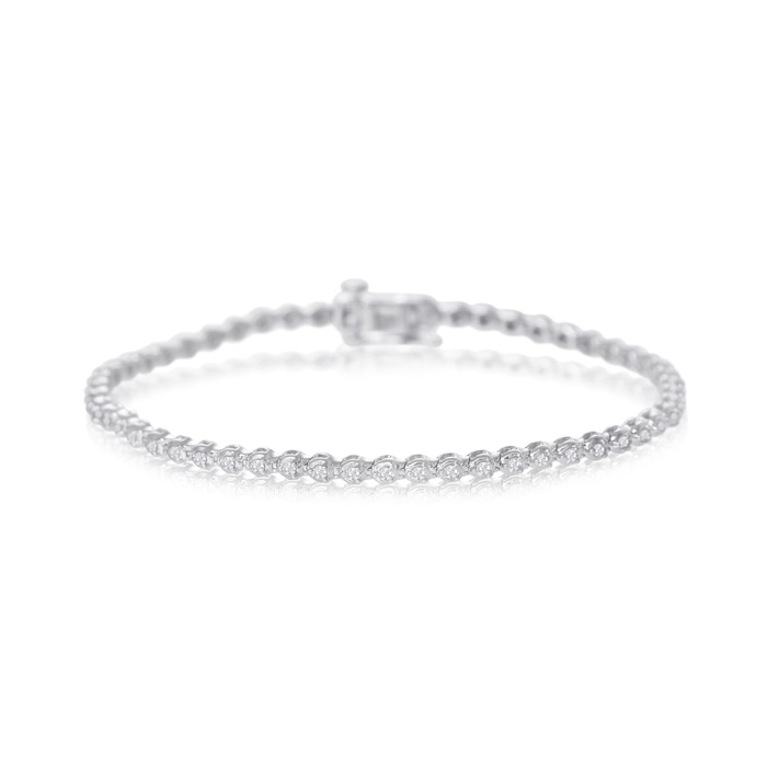 1 Carat Round Diamond Bracelet In White Gold