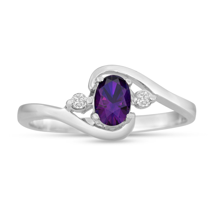 1/2ct Amethyst and Diamond Ring In 14K White Gold
