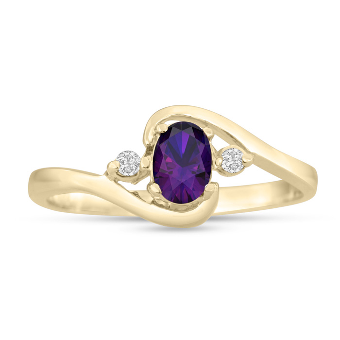 1/2ct Amethyst and Diamond Ring In 14K Yellow Gold