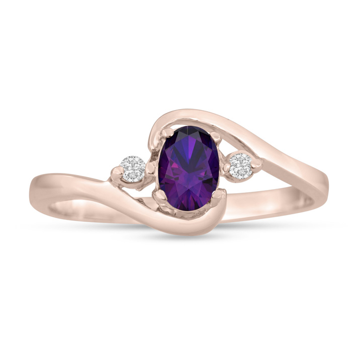 1/2ct Amethyst and Diamond Ring In 14K Rose Gold