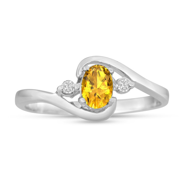 1/2ct Citrine and Diamond Ring In 14K White Gold