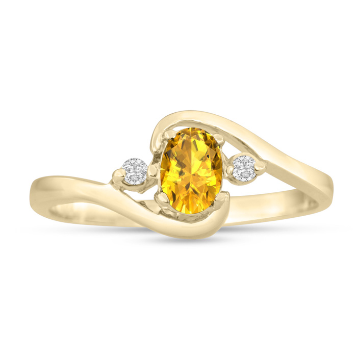 1/2ct Citrine and Diamond Ring In 14K Yellow Gold