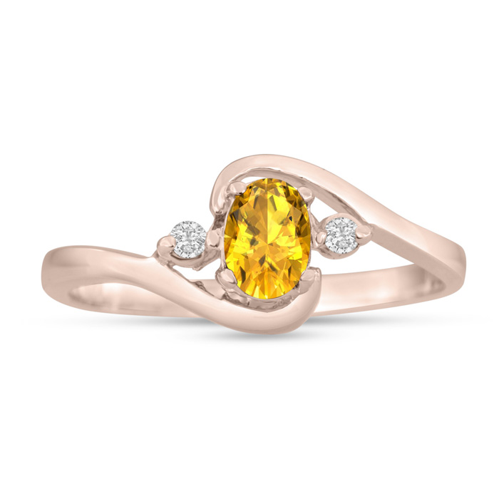 1/2ct Citrine and Diamond Ring In 14K Rose Gold
