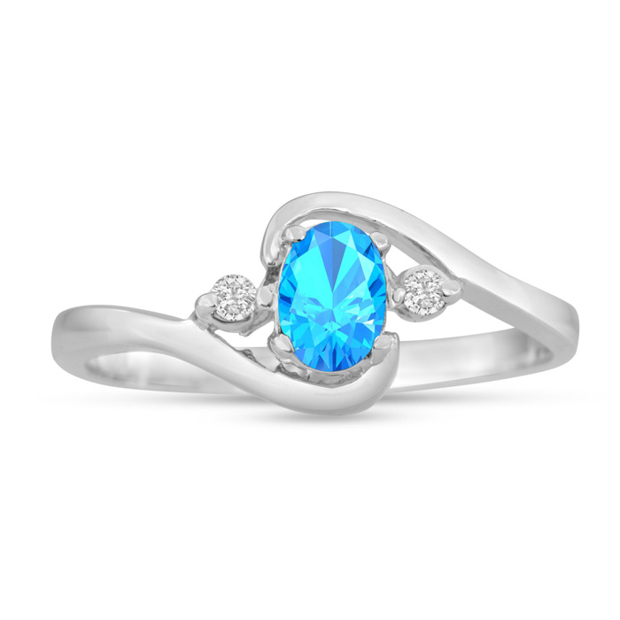 1/2ct Blue Topaz and Diamond Ring In 14K White Gold