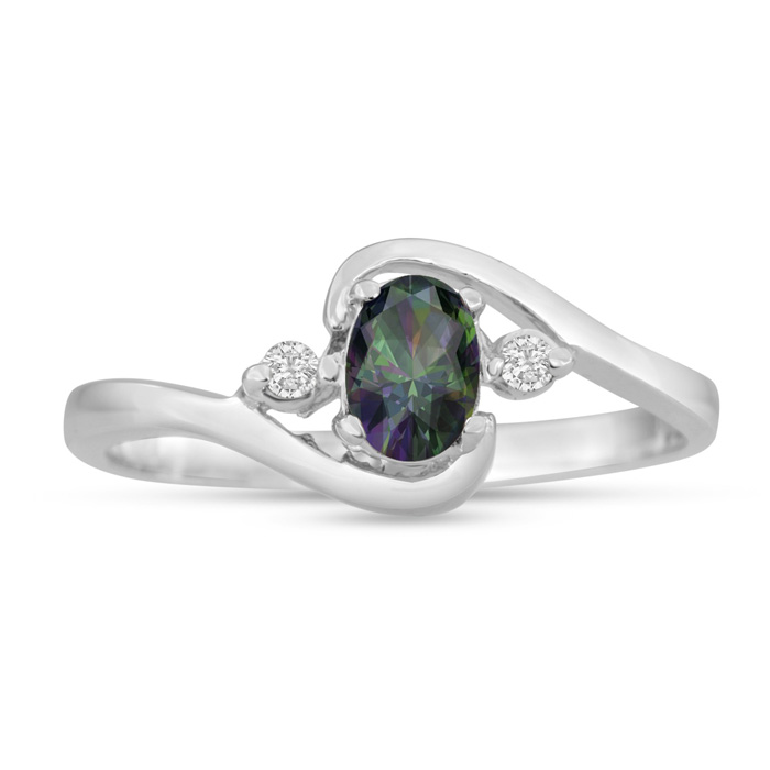 1/2ct Mystic Topaz and Diamond Ring In 14K White Gold