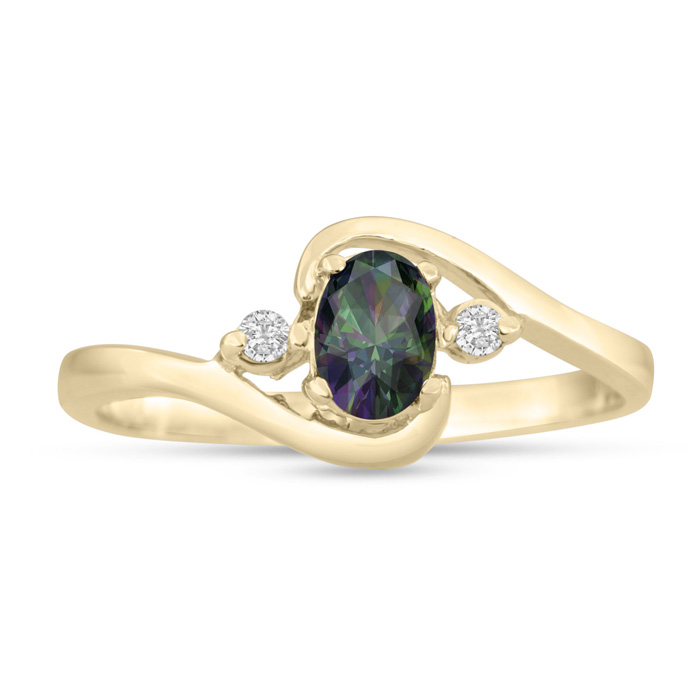 1/2ct Mystic Topaz and Diamond Ring In 14K Yellow Gold