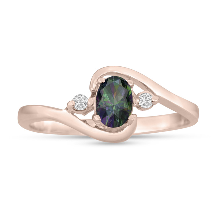 1/2ct Mystic Topaz and Diamond Ring In 14K Rose Gold