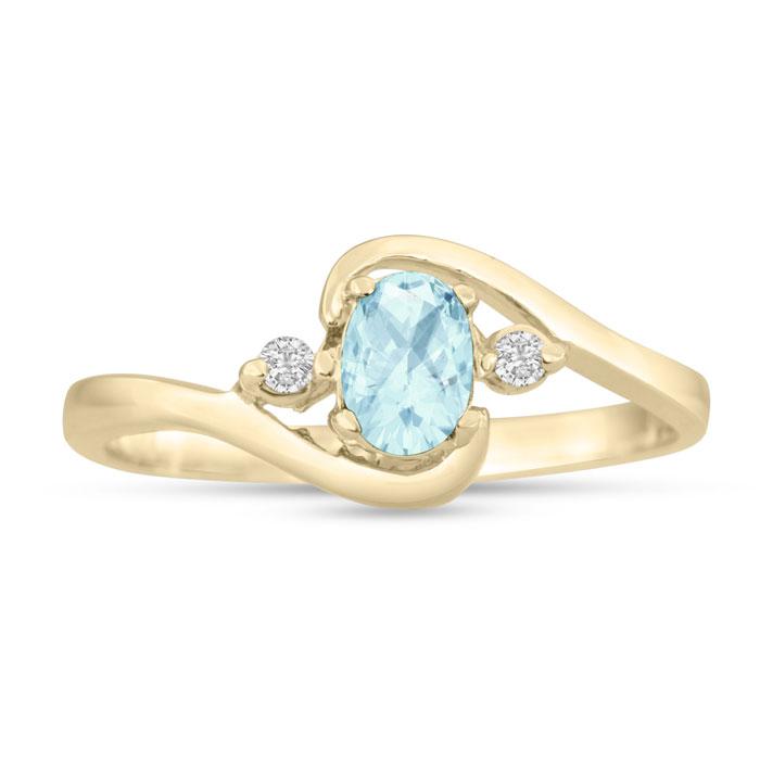 1/2ct Aquamarine and Diamond Ring In 14K Yellow Gold