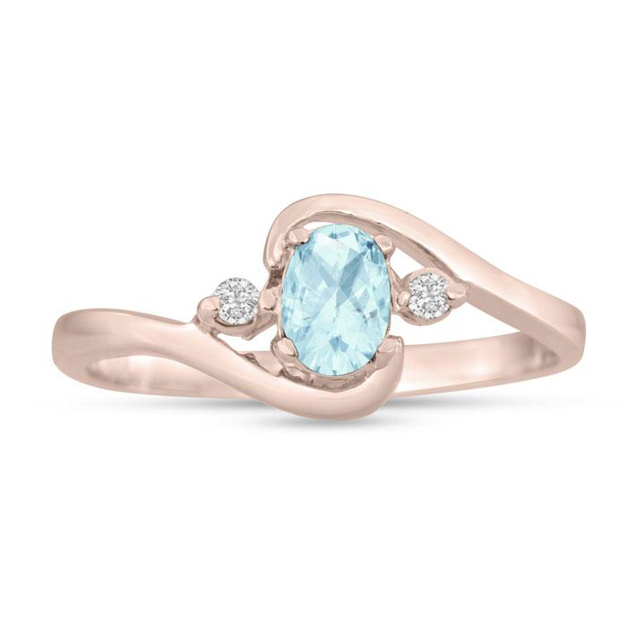 1/2ct Aquamarine and Diamond Ring In 14K Rose Gold