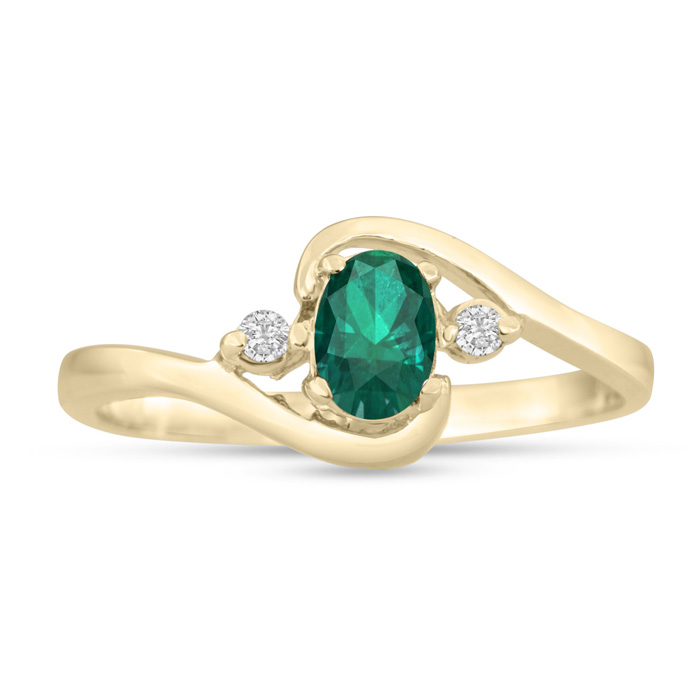 1/2ct Emerald and Diamond Ring In 14K Yellow Gold