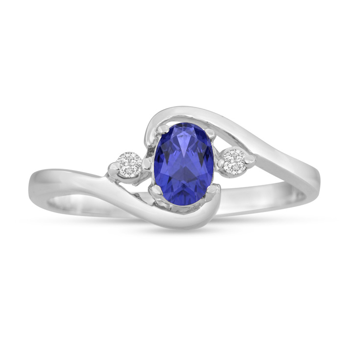 1/2ct Tanzanite and Diamond Ring In 14K White Gold